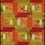"Log Cabin Quilt: Lemon Tangerine - 18"" x 30"" - Watercolor collage - January 2008"