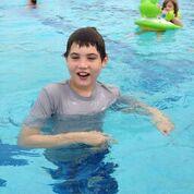 Aidan in a swimming pool