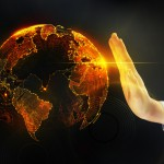 A picture of the world as a globe, and a hand next to it as if to say, stop.